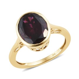 One Time Deal-9K Yellow Gold  Extremely Rare Size Rhodolite Garnet (Ovl 11x9 mm) Solitaire Ring 4.00