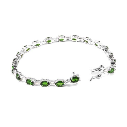 Russian Diopside (Ovl), White Topaz Bracelet (Size 8) in Rhodium Overlay Sterling Silver 11.750 Ct, Silver wt 10.50 Gms.