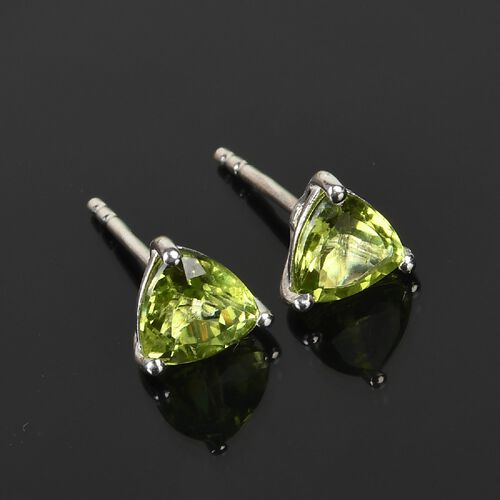 Peridot Solitaire Stud Push Post Earring in Platinum Overlay Sterling Silver 1.50 ct  1.500  Ct.