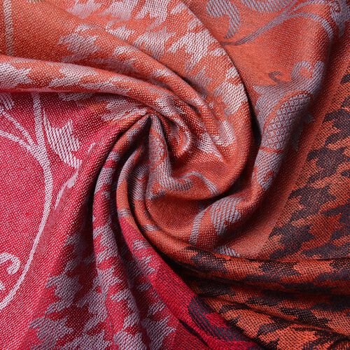 Designer Inspired - Pink, Orange and Multi Colour Houndstooth and Paisley Pattern Scarf with Tassels (Size 185X70 Cm)