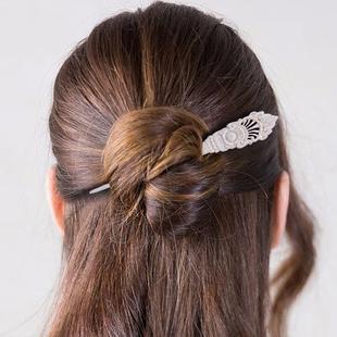 Bali Collection - Craved Bone Craft Hair Bun Holder (Size:15Cm) - White