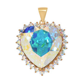 Super Auction- J Francis Crystal from Swarovski - Swarovski AB Crystal (Hrt 28mm) Heart Pendant in 14K Gold Overlay Sterling Silver, Silver wt 8.15 Gms.