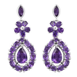 7.5 Ct Amethyst Dangle Earrings in Platinum Plated Sterling Silver With Push Back