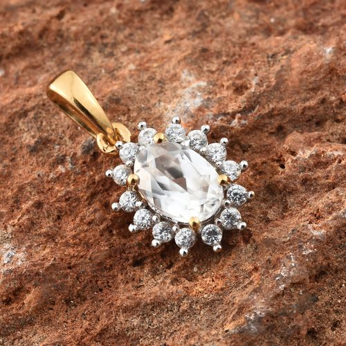 Natural Cambodian Zircon Halo Pendant in Gold Plated Silver 1.25 Ct