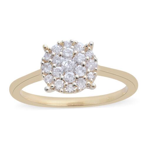 9K Yellow Gold SGL Certified Diamond (Rnd) (I3/G-H) Ring 0.500 Ct.