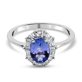 9K White Gold Tanzanite and Diamond Ring 1.11 Ct.