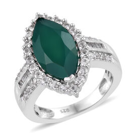 4.43 Ct Verde Onyx and Cambodian Zircon Halo Ring in Platinum Plated Sterling Silver 6 Grams