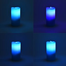 Real Wax Flameless Multicolour LED Water Fountain Candle with Remote Control (Size 10x10x20 Cm) - Bl