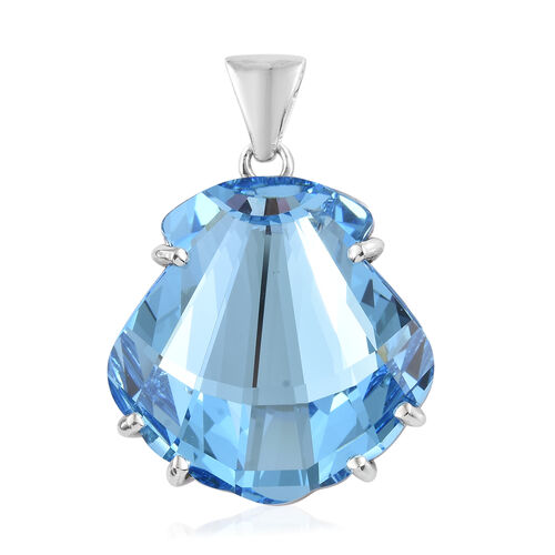 J Francis - Crystal from Swarovski - Aquamarine Colour Crystal Shell Pendant in Platinum Overlay Sterling Silver