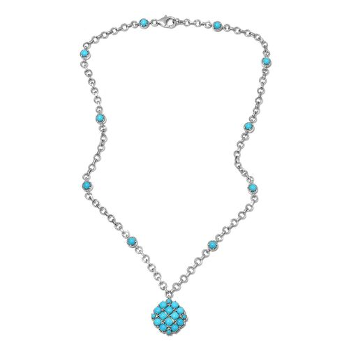 Tucson Close Out-Arizona Sleeping Beauty Turquoise and Natural Cambodian Zircon Necklace (Size 18) i