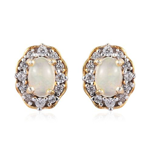 Ethiopian Welo Opal and Natural Cambodian Zircon Stud Earrings (with Push Back) in 14K Gold Overlay