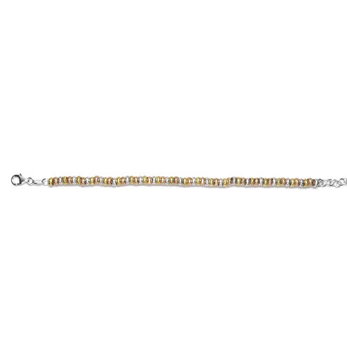 Designer Inspired- Yellow, White and Rose Gold Overlay Sterling Silver Bracelet (Size 7.5), Silver wt 12.92 Gms.