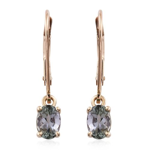 9K Yellow Gold 0.50 Ct AA Green Tanzanite Lever Back Earrings