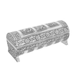 Hand Embossed Peacock Pattern Round Wooden Bangle Box with Scratch Protection Interior (25X10X9 CM)