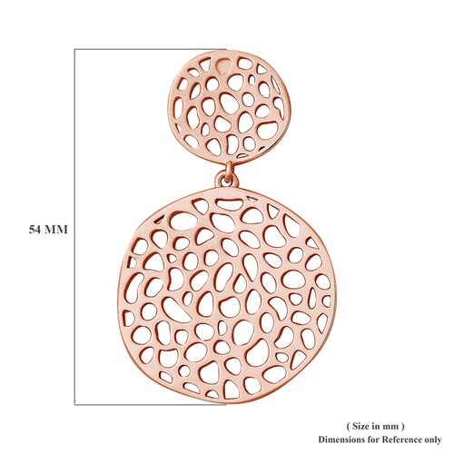 RACHEL GALLEY Rose Gold Overlay Sterling Silver Lattice Disc Drop Earrings (with Push Back), Silver wt 13.04 Gms