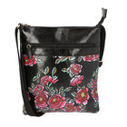 Night Blooming Flowers Pattern Crossbody Bag with Adjustable Shoulder Strap (Size 26x29 Cm) - Black