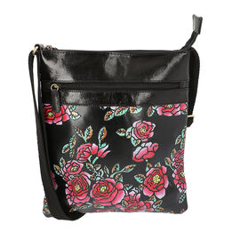 100% Genuine Leather Night Blooming Flowers Pattern Crossbody Bag with Adjustable Shoulder Strap (Si