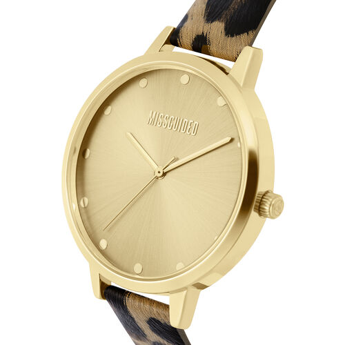 MISSGUIDED Watch with Gold Case, Round Pale Gold Sunray Dial and Leopard Print Strap