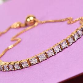 Diamond (Rnd) Adjustable Bolo Bracelet (Size 6.5 -9.5) in 14K Gold and Platinum Overlay Sterling Sil