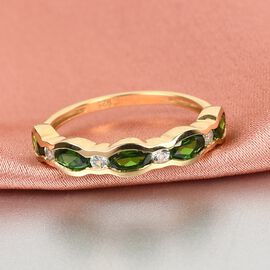 Russian Diopside and Natural Cambodian Zircon Ring in 14K Gold Overlay Sterling Silver 1.47 Ct.
