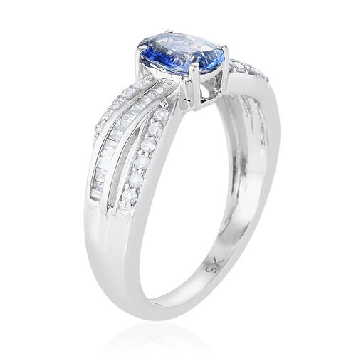 9K White Gold AA Royal Ceylon Sapphire (Ovl), Diamond Ring 1.150 Ct.
