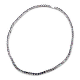 Simulated Rainbow Multi Colour Gemstone Tennis Necklace (Size 17)