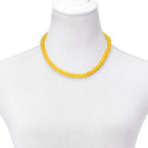 Honey Jade Beads Necklace (Size 18) with Magnetic Clasp in Rhodium Plated Sterling Silver 250.000 Ct.