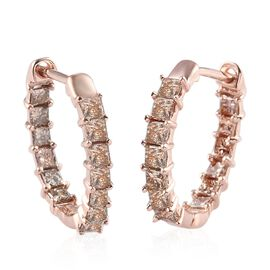 9K Rose Gold SGL Certified Champagne Diamond (I2-I3) Full Hoop Earrings 1.00 Ct.