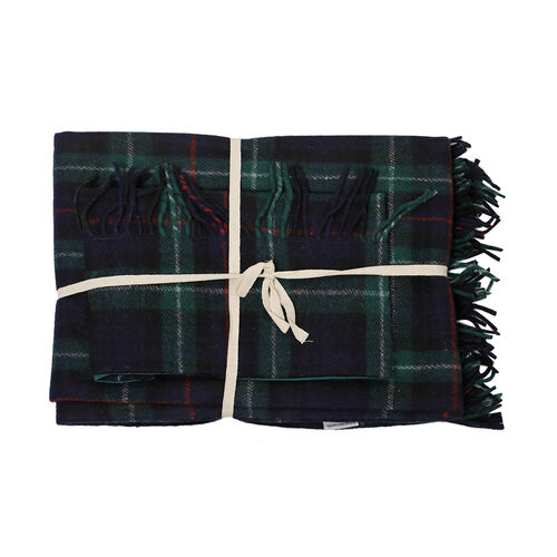 2 Piece Set - Checkered Pattern Wool Throw Blanket with Fringe (Size 135x170cm) and Cushion Cover with Zipper Closure and Flap Over (43x43cm) - Dark Green and Navy