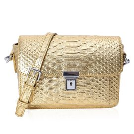 100% Genuine Leather Golden Colour Snake Skin Pattern Cross Body Bag (Size 21x6x14 Cm) with Detachab
