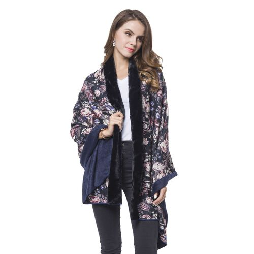 Blue, Black, White and Multi Colour Paisley and Floral Pattern Reversible Shawl with Faux Fur at Back (Size 180X80 Cm)