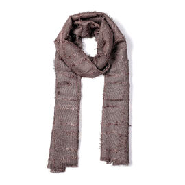 Close Out Deal- Metallic Fibre Scarf (Size 50x165 Cm) - Mauve