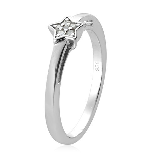 MP Diamond Star Stacker Platinum Overlay Sterling Silver