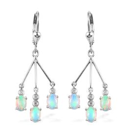 1.90 Ct Ethiopian Welo Opal and Zircon Dangle Earrings in Platinum Plated Silver