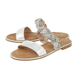 Lotus Diamante Josie Mule Sandals in Silver Colour