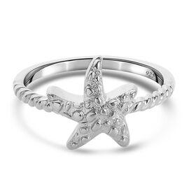 Platinum Overlay Sterling Silver Starfish Ring