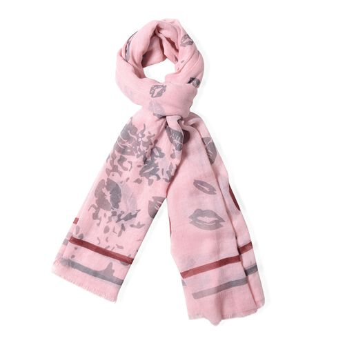 Pink Colour Lip and Stripe Pattern Scarf (Size 178x100 Cm)