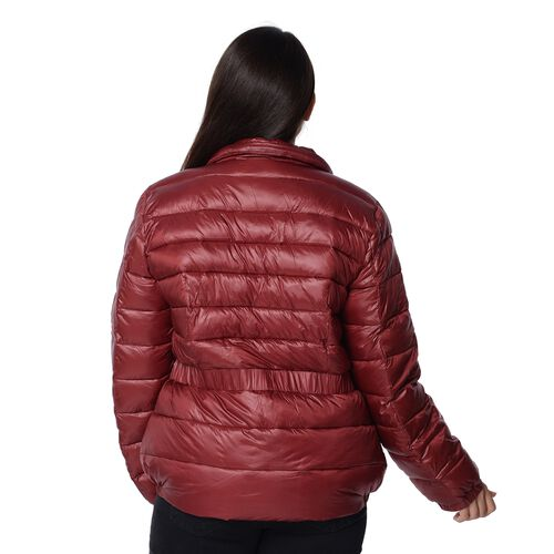 Solid Colour Women Short Puffer Jacket with Two Pockets (Size 54x68 Cm, M) - Wine