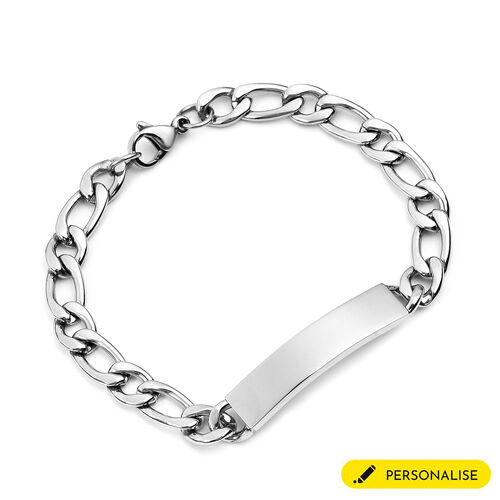 Personalise Engraved Mens ID Figaro Chain Bracelet Size 7Inch