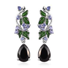 Elite Shungite (Pear 10x7 mm),Tanzanite Blue Berry Bush Design Enamelled Earrings (with Push Back) i