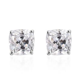J Francis - Platinum Overlay Sterling Silver (Cush) Stud Earrings (with Push Back) Made with Swarovs