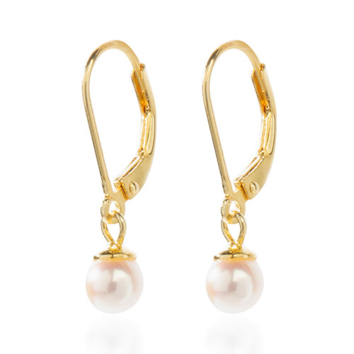Japanese Akoya Pearl (Rnd 5-6 mm) Earrings (with Lever Back) in 14K Gold Overlay Sterling Silver