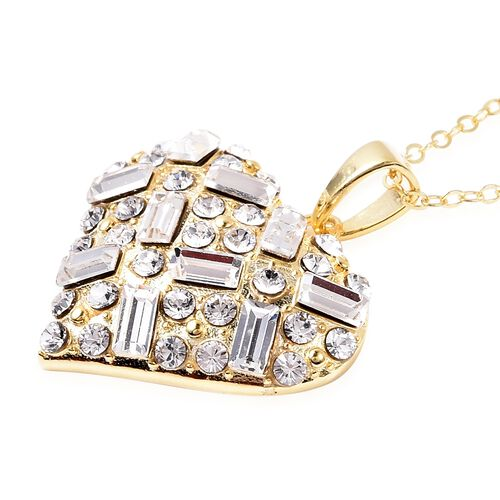 J Francis - Crystal from Swarovski White Crystal (Rnd and Bgt) Heart Pendant with Chain (Size 18) in 14K Gold Overlay Sterling Silver, Silver wt 5.00 Gms