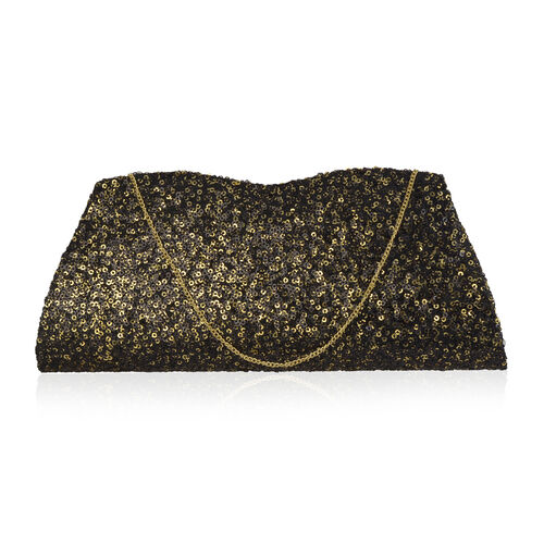 Black Colour Satin Clutch Bag with Golden Sequins and Chain Strap (Size 26x10 Cm)
