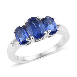 Kashmir Blue Kyanite ((Ovl), Diamond Ring in Platinum Overlay Sterling Silver 2.190 Ct.