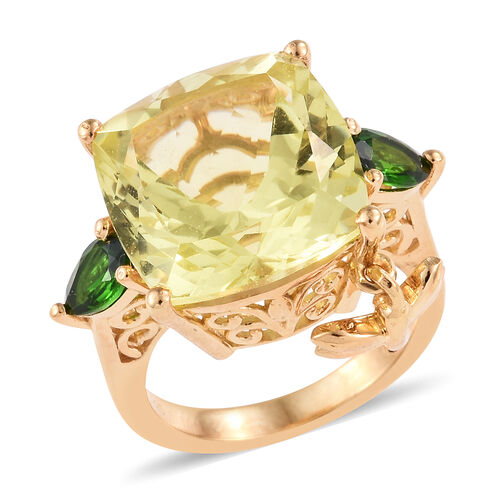 GP 12 Carat Green Gold Quartz and Diopside with Multi Gemstones Cocktail Ring in Sterling Silver