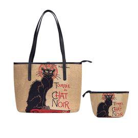 Signare Tapestry - 2 Piece Set Tournee du Chat Noir Art Shoulder Bag with Free Matching Make Up Bag