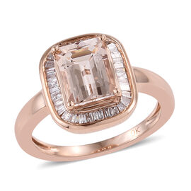 9K Rose Gold Marropino Morganite (Oct 8x6 mm), Diamond Ring 1.550 Ct.