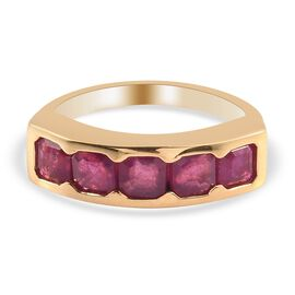 Pink Ruby (Asscher) Band Ring in 14K Gold Overlay Sterling Silver 2.25 Ct.