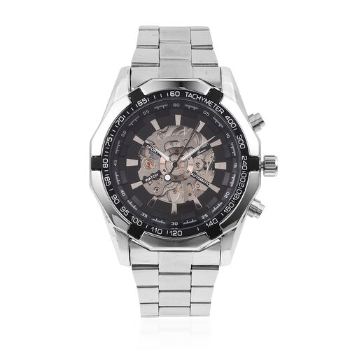 GENOA Automatic Mechanical Movement Black Dial Water Resistant Watch in Silver Tone with Stainless Steel Back